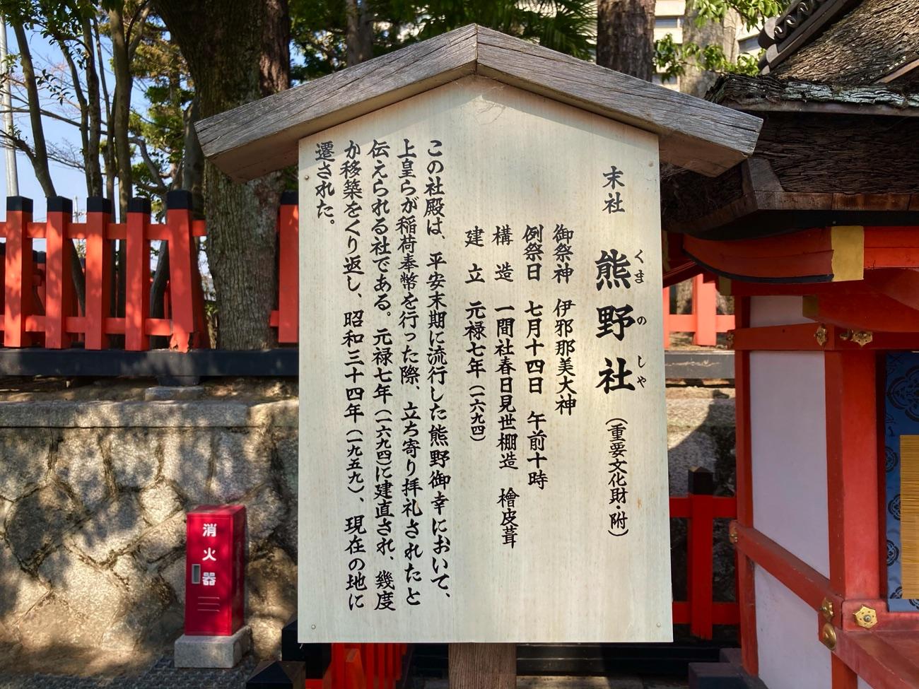 熊野社の駒札