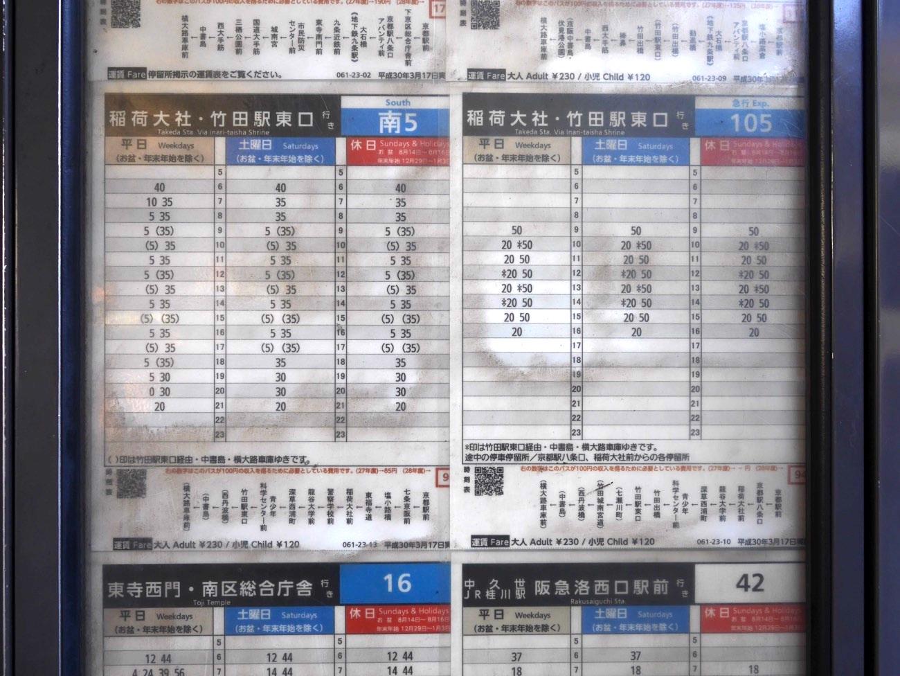 稲荷大社方面の時刻表