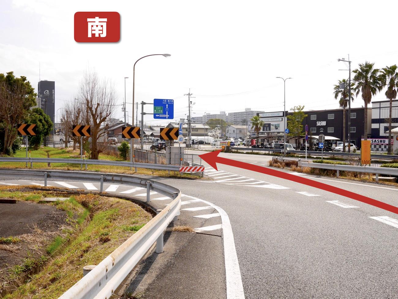京都南I.C.第2出口から国道1号線に合流